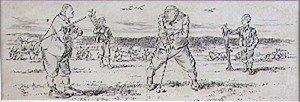 Famous paintings of Golf: A Quick Word before the Stroke, illustration from Graphic magazine, pub. c.1870