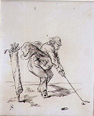 Famous paintings of Golf: The Final Stroke, illustration from Graphic magazine, pub. c.1870