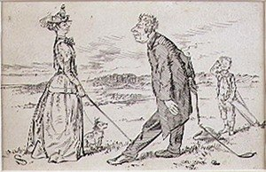 Famous paintings of Golf: The Courteous Golfer, illustration to Graphic magazine, pub. c.1870