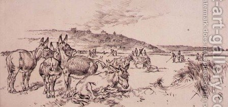 Donkeys on the Golf Course, illustration from Graphic magazine, pub. c.1870 by Henry Sandercock - Reproduction Oil Painting