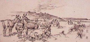 Famous paintings of Golf: Donkeys on the Golf Course, illustration from Graphic magazine, pub. c.1870