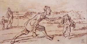 Famous paintings of Golf: Shouting at the Caddie, illustration from Graphic magazine, pub. c.1870
