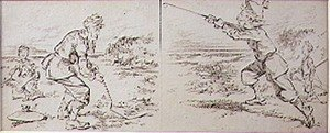 Famous paintings of Golf: The Golfer Disturbed by a Windy Blast, illustration from Graphic magazine, pub. c.1870