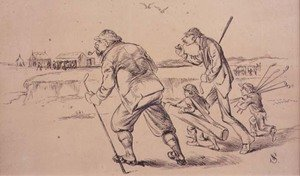 Famous paintings of Golf: Golfers off to Practice on the Beach, illustration from Graphic magazine, pub. c.1870