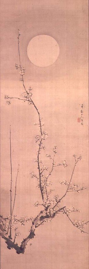 Gentai Sanjin reproductions - Prunus blossom in moonlight