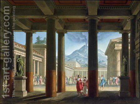 Entrance to the Amphitheatre, design for the opera LUltimo Giorno di Pompeii, 1827 by Alessandro Sanquirico - Reproduction Oil Painting