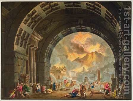 Alessandro Sanquirico: Scene from the opera LUltimo Giorno de Pompeii by Pacini, produced at La Scale in Milan in the autumn of 1827 - reproduction oil painting