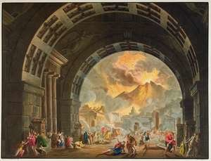 Famous paintings of Volcanoes: Scene from the opera LUltimo Giorno de Pompeii by Pacini, produced at La Scale in Milan in the autumn of 1827