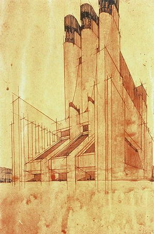 Futurism painting reproductions: Study for a Building, 1913