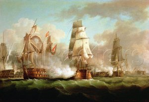 Neo-Classical painting reproductions: Neptune engaged, Trafalgar, 1805