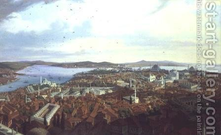 Panorama of Constantinople from the Suleymaniye Camii, 1844 by Hubert Sattler - Reproduction Oil Painting