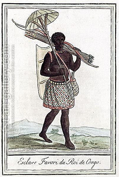 The King of Congos Favourite Slave, engraved by J. Laroque, c.1770 by (after) Sauveur, J.G. - Reproduction Oil Painting