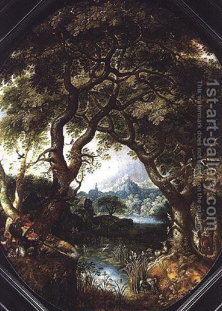 A Wooded Landscape with Hunters by a Stream by Jacob I Savery - Reproduction Oil Painting