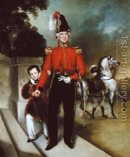 General Sir James Dennis 1778-1855 with his son, a syce leading away his charger 1843 by Heinrich Schaeffer - Reproduction Oil Painting