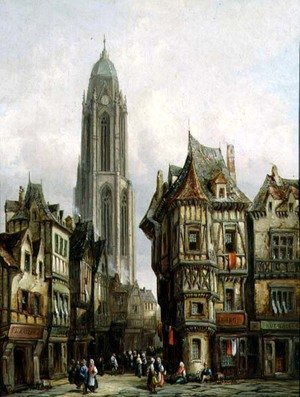 Henry Schafter reproductions - German Street Scene and Church Tower