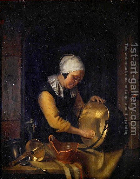 An Old Woman Scouring a Pot, c.1660 by Godfried Schalcken - Reproduction Oil Painting
