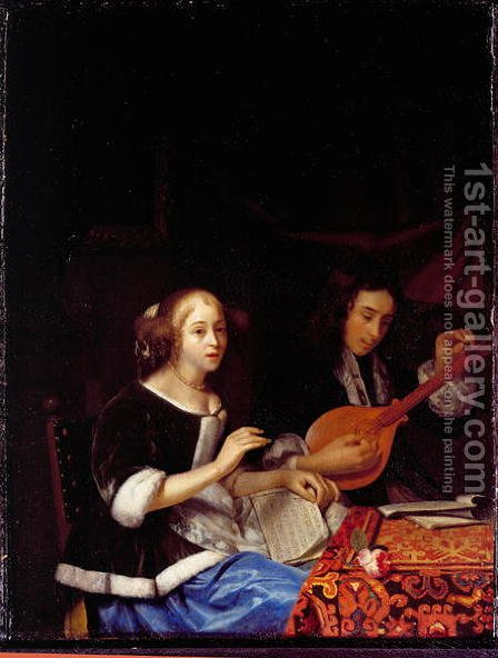 A Young Couple Making Music, c.1665-70 by Godfried Schalcken - Reproduction Oil Painting