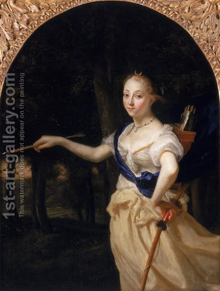 Portrait of a Lady as Diana by Godfried Schalcken - Reproduction Oil Painting