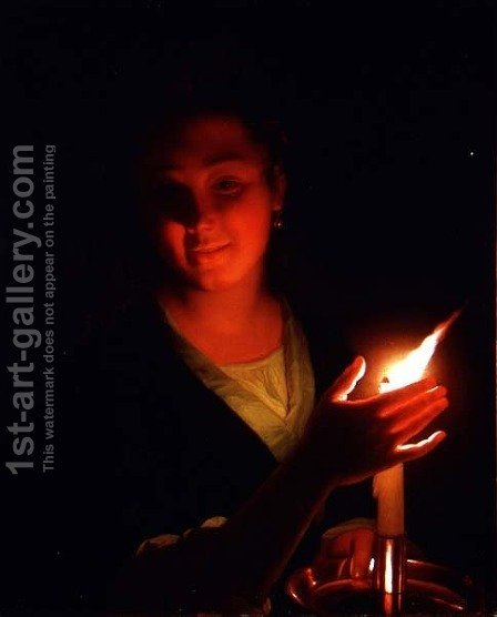 Woman with a Candle by Godfried Schalcken - Reproduction Oil Painting