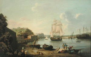Famous paintings of Ships & Boats: Ship under Sail in the Harbour at Port Mahon, Minorca