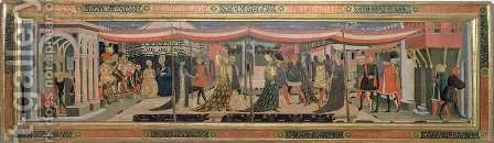 Frontal from the Adimari Cassone depicting a wedding scene in front of the Baptistry, c.1450 by Giovanni di ser Giovanni Guidi (see Scheggia) - Reproduction Oil Painting