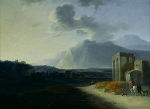 Famous paintings of Volcanoes: Landscape with Mount Stromboli