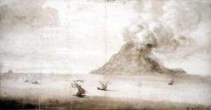Famous paintings of Volcanoes: View of Stromboli, c.1661-5