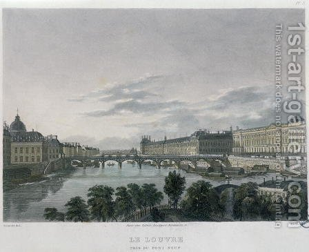 The Pont or Passerelle des Arts, Paris, 1832 by (after) Schmidt, Bernhard - Reproduction Oil Painting