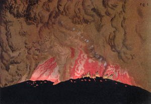 Famous paintings of Volcanoes: The Aphroessa and Georgios lava flows during an eruption of the Santorini volcano, illustration from Etudes sur les Volcans by the artist, engraved by Druck and Arnold, 1881