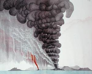 Famous paintings of Volcanoes: The eruption of the Santorini volcano, illustration from Etudes sur les Volcans by the artist, engraved by Druck and Arnold, 1881
