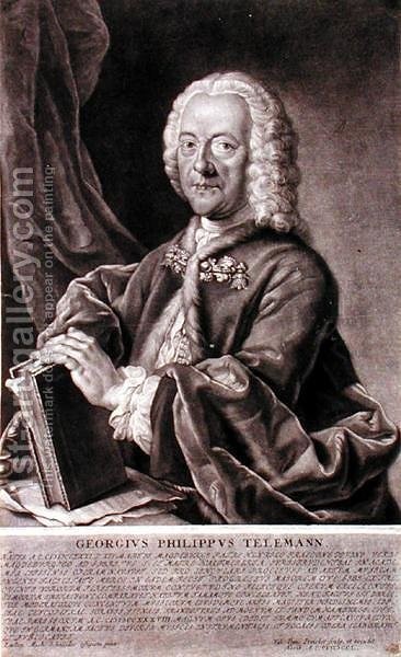 Portrait of Georg Philipp Telemann 1681-1757 engraved by Georg Preisler 1700-54 by (after) Schneider, Michael - Reproduction Oil Painting