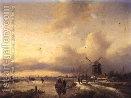 Figures in a Frozen River Landscape by Hendrik Jacobus Scholten - Reproduction Oil Painting