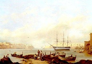 Neo-Classical painting reproductions: H.M.S. Brunswick at Anchor in Grand Harbour, Valletta, Malta