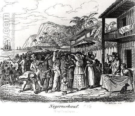 Slave Market in Martinique by Albert Schule - Reproduction Oil Painting