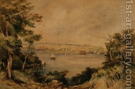Sydney from Lavender Bay, 1868 by Maria Jane Scott - Reproduction Oil Painting