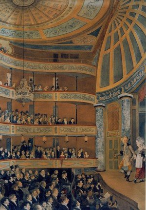 Romanticism painting reproductions: Interior of The Park Theatre, New York City, 1822