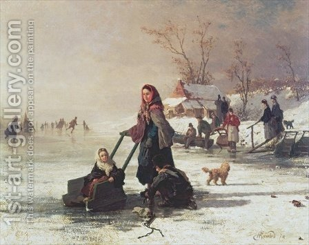 Skaters on a Frozen Canal by Henri van Seben - Reproduction Oil Painting