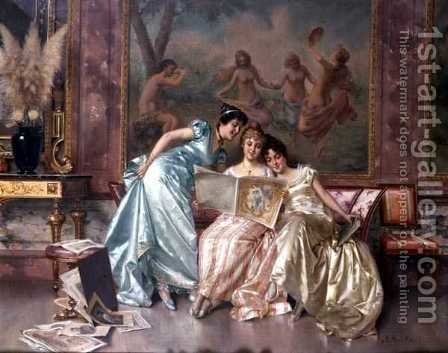 Elegant Connoisseurs by A. Secola - Reproduction Oil Painting