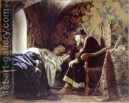 Tsar Ivan the Terrible Admiring Vasilia Melentevna, 1875 by Grigori Semenovich Sedov - Reproduction Oil Painting