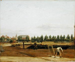 John Seguier reproductions - Excavating the Regents Canal, with a view of Marylebone Chapel, c.1812