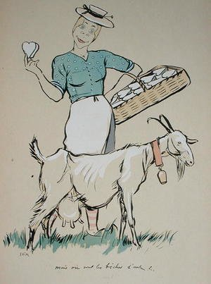 Cheese maker and her goat, caricature from Le Grand Monde a lEnvers, 1919