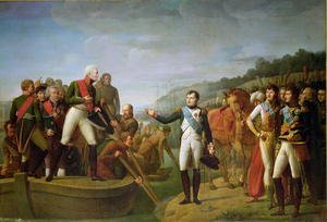 Neo-Classical painting reproductions: Farewell of Napoleon I 1769-1821 and Alexander I 1777-1825 after the Peace of Tilsit, 9th July 1807