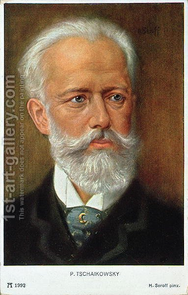 Postcard of Piotr Ilyich Tchaikovsky 1840-93 by H. Serov - Reproduction Oil Painting