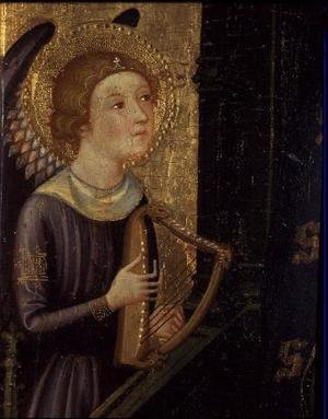 Medieval & Gothic Art painting reproductions: Angel playing a Harp