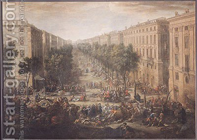 Huge version of View of the Cours Belsunce, Marseilles, During the Plague of 1720, 1721