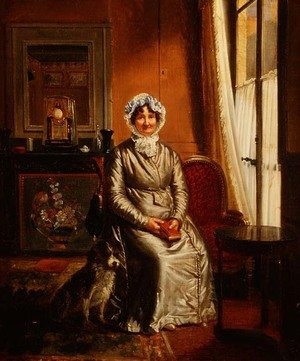 Academic Classicism painting reproductions: A lady with a dog in an interior