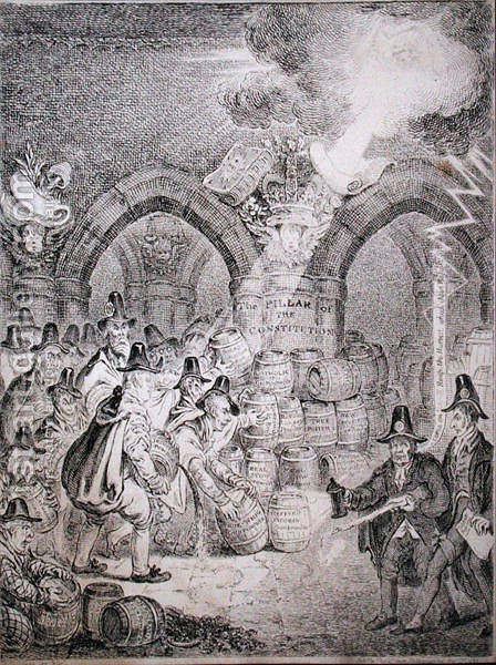 The Opposition trying to blow up Parliament, published by Thomas McLean in 1835