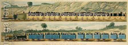 Travelling on the Liverpool and Manchester Railway A Train of the First Class of Carriages with the Mail, and A Train of the Second Class for Outside Passengers, engraved by S.G. Hughes, 1831 by (after) Shaw, Isaac - Reproduction Oil Painting