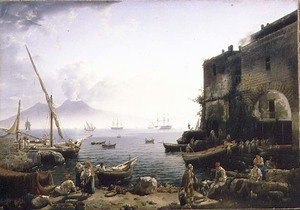 Famous paintings of Volcanoes: View of Naples, the Santa Lucia Embankment, 1829
