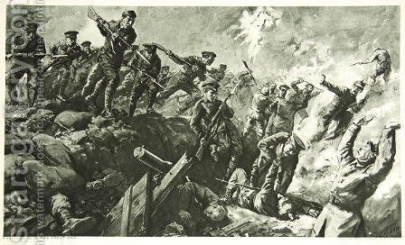 Charles Mills Sheldon: The Capture of the German trenches at Neuve Chapelle - reproduction oil painting